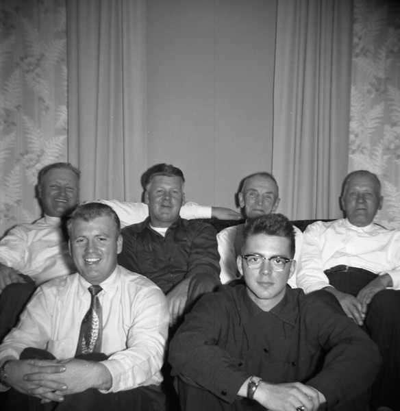 BACK ROW: BENNY AMUNDSON, LYLE SOLIE, OLOF AMUNDSON & ?<br /> FRONT ROW: CARLYLE GILBERTSON, BILL SOLIE