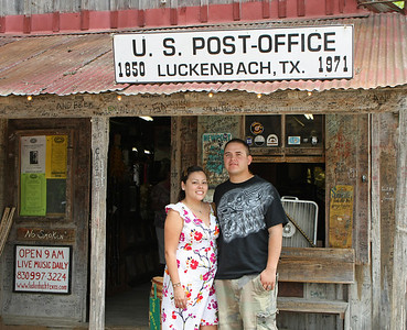 The obligatory tourist picture on the front porch of the old Luckenbach Post Office/General Store.  When Rueben and Cynthia came to visit for the weekend what better way to enjoy our time together than a hot August Saturday afternoon doing the tourist thing in Luckenbach?  This has been an exceptionally hot summer with temps reaching 100+ daily so there just weren't a lot of afternoon outdoor choices not involving water/swimming.  Luckenbach has some wonderful shade trees that help keep things reasonable.  That and the fact that neither had been to Luckenbach before sealed the deal.  After a detour for some tortilla soup at Jim's Restaurant in Oak Hill, we headed out from Austin, casually making our way west with Luckenbach as our destination.