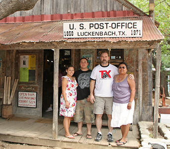 A rare photograph with me in it.  Thank goodness I happened to have my TX adventure rider t-shirt on.  :)  Luckenbach was named after Carl Albert Luckenbach, the son of German immigrant Jacob Luckenbach.  At various times throughout the years the town had a general store, dance hall, school, cotton gin, blacksmith shop, kissing booth, and gas pump.  Today the only thing that remains from the past is the general store, which is now a store and bar, and the dance hall.  A hat shop and hamburger stand have been added in more recent years.  Luckenbach gained legendary status in 1977 with the release of Waylon Jenning's international hit, Luckenbach Texas (Back to the Basics of Love).  Today, Luckenbach remains a good place to spend a casual weekend afternoon.