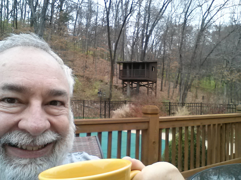 Enjoying a cup of coffee in our back yard on a warm November morning.