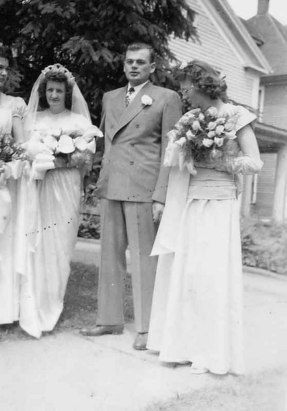 Our wedding picture. My maid of honor is almost cut off, Doris york.