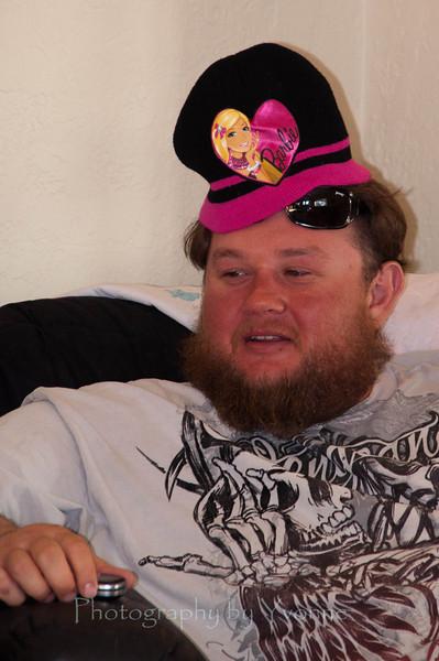Uncle Roy wearing Barbie hat!