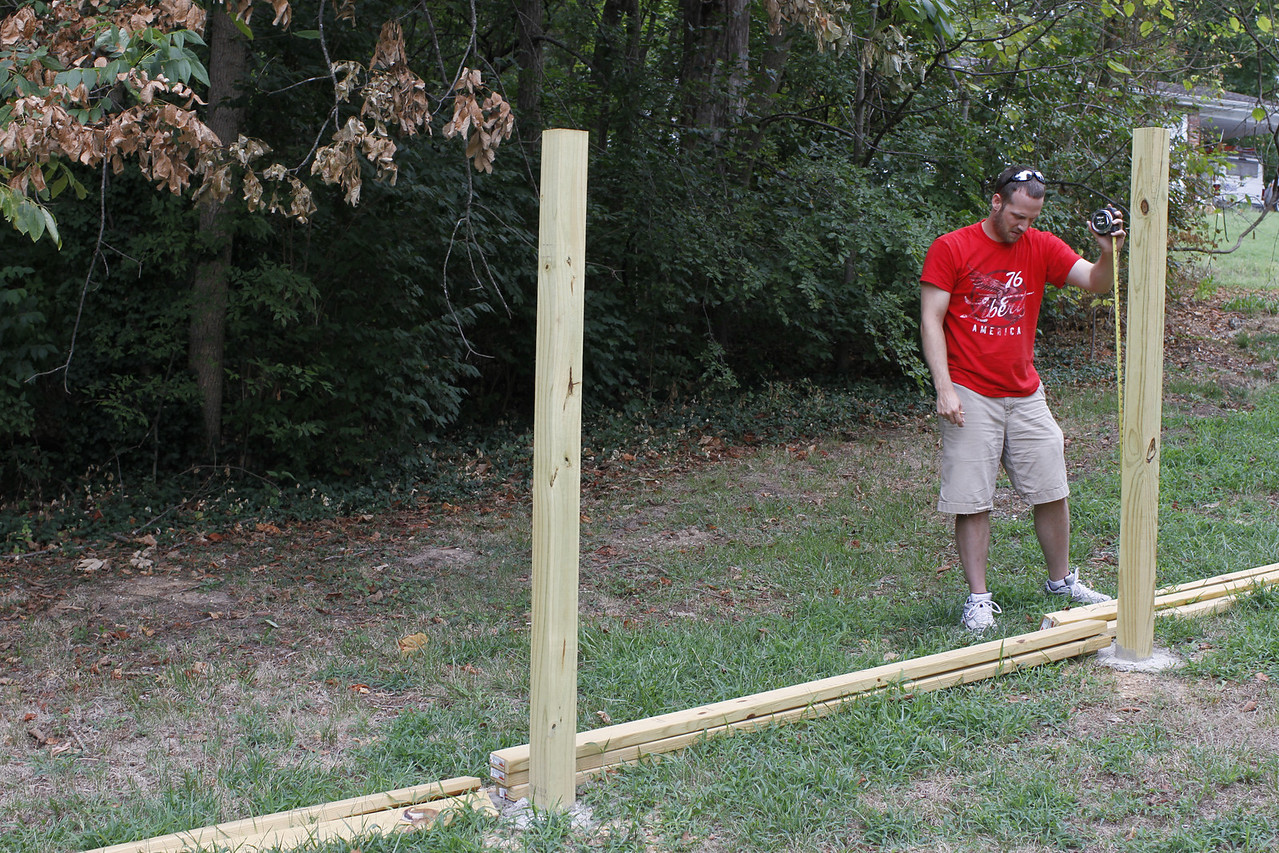 Measure and marking to ensure straight fence lines