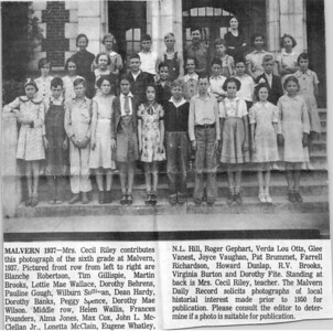 peggy spence stinson hughen 6th grade class 1937 malvern, ark