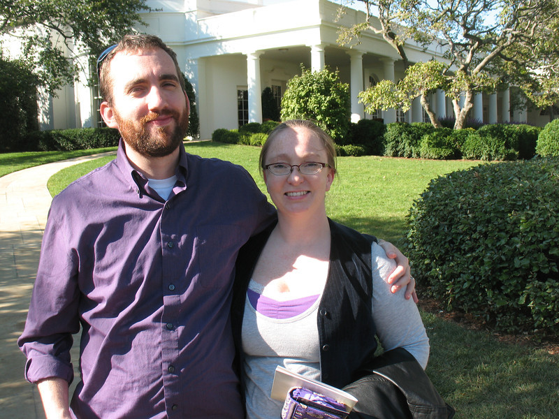 Heather and Adam at the west wing of the White House.