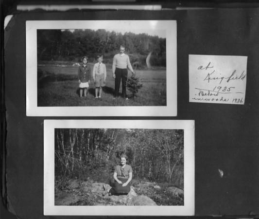 Top photo:  Margery King, Robert King Sr., Louis F. King (Bob).  Bottom:  Beda King  Both images taken in Kingfield, Maine.