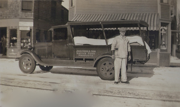 Louis Frederick (Bob) King (our  Grandfather), probably in the mid-1930's. on Commercial Street, Portland, Maine.  That is a 1929 Model A Ford Truck.