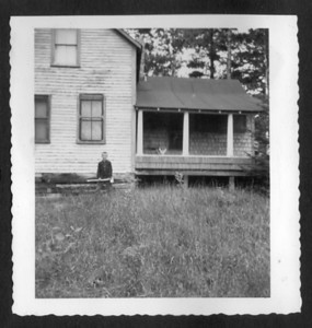 """David King (my Father's brother), apparently at the """"Old Camp"""", Kingfield , Maine, about 1948."""