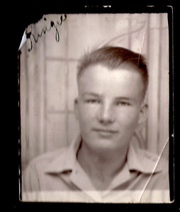 "Robert Lee King Sr.  This is Dad probably around 18-20 years of age and about 1944-45. The word in the upper left is ""Kingie"".  That was the nickname the family gave him."