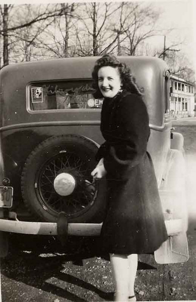 Pat Potwin after first meeting Ed outside the roller rink in Celeron behind Eds 1932 Plymouth.