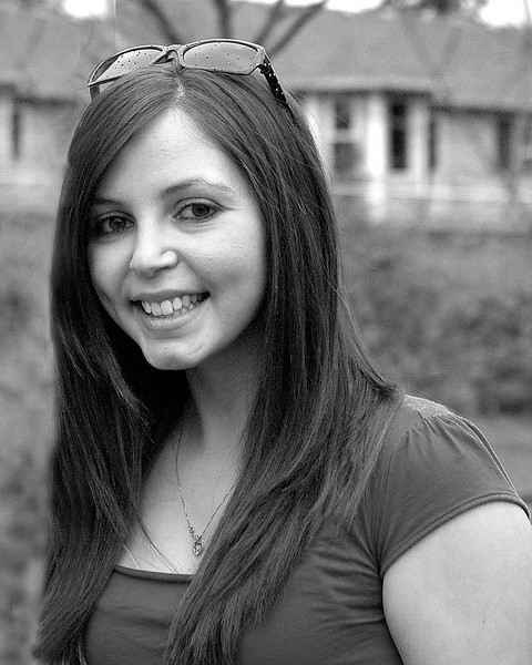 Rachel in black and white