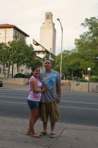 The Strip (Guadalupe & 24th Street), UT Clock Tower in the background.  July 2009
