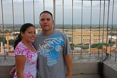 Atop the UT Clock Tower.  DKR-Texas Memorial Stadium in the background.  July 2009