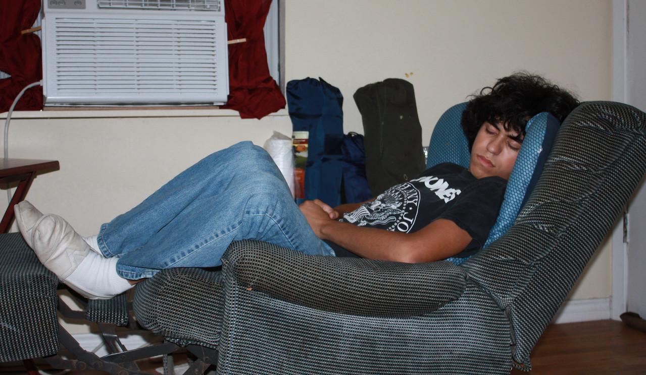 Grabbing a short nap at Momos.  June 2009