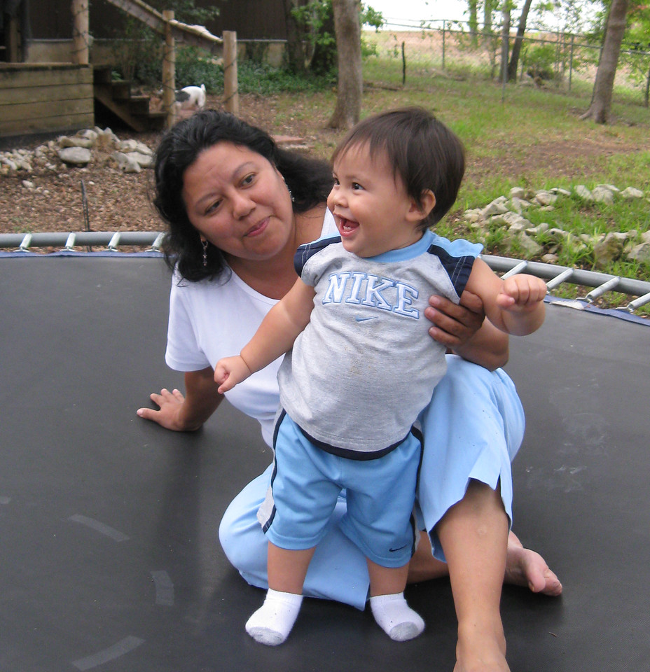 Kemper's first time on the trampoline.  Summer 2008