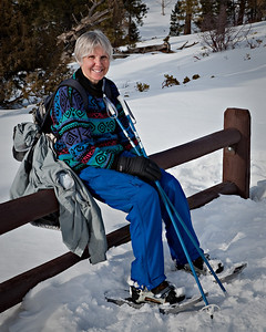 Edna, on showshoe hike in Bryce Canyon - 1/2/2010