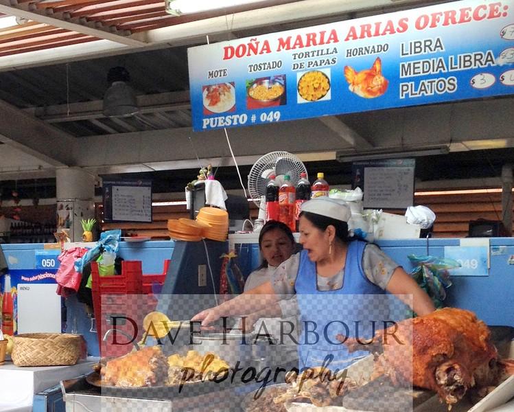 Cuenca, Market, bbq pork vendor, July 2014