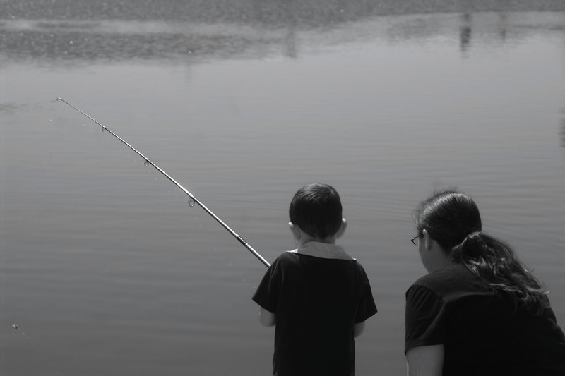 My Nephew Fishing with his Mother