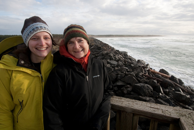 Mom and Bonnie on a jetty at the mouth of the Columbia River.