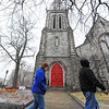 Pedestrians walk by the Christ Church bell tower on Main St. in Fitchburg where the hand-operated church bells were being rung by the church's treasurer, Fedor Berndt Jr. of Fitchburg, Monday from noon to 12:15 P.M. for the city's 250th anniversary.<br /> SENTINEL & ENTERPRISE / BRETT CRAWFORD