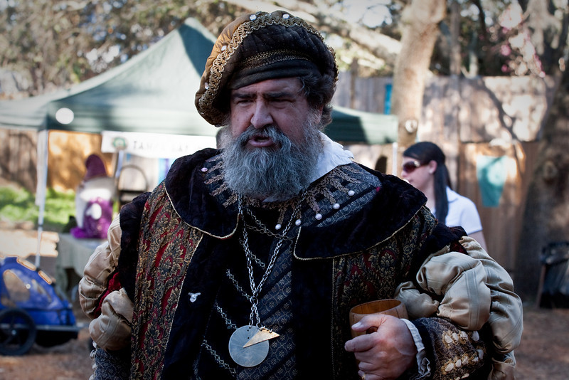 The Renaissance Festival comes to Tampa each winter. His Royal Highness is shown here walking among the peasants. <br /> <br /> This photo processes using Lightroom.