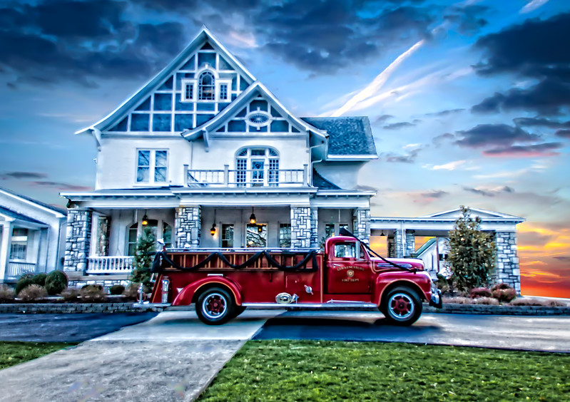 Antique Fire truck, Painted look