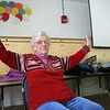 Dot Mullen, 93, does some yoga with the Silversneakers program at the YMCA in Fitchburg on Wednesday morning. SENTINEL & ENTERPRISE/JOHN LOVE