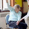 Eloise Gauffin, 91,  does some yoga with the Silversneakers program at the YMCA in Fitchburg on Wednesday morning. SENTINEL & ENTERPRISE/JOHN LOVE