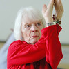 Margo DeSmet, 84, does some yoga with the Silversneakers program at the YMCA in Fitchburg on Wednesday morning. SENTINEL & ENTERPRISE/JOHN LOVE