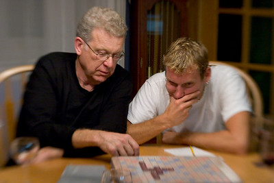 Thad and his father playing Team Scrabble against our friend Katie and me.
