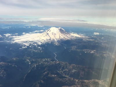 Friday, August 18th - enroute from Denver to Seattle, now passing by Mt. Rainier; then on to Anchorage.