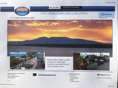 Susitna Place - our sweet B&B in Anchorage - link below: