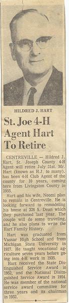 4 h agent Hart retires newspaper clip