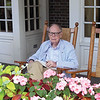Dad at home on the porch of the Hanover Inn (Dartmouth College) 2009