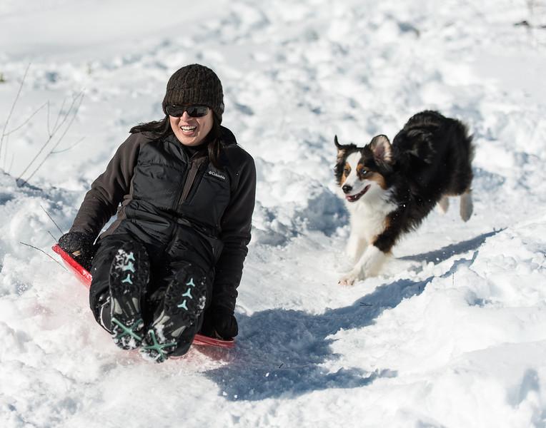Trish and Izzy sledding at Whitecloud
