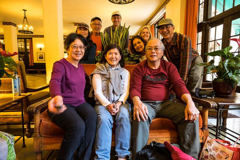Stephanie, Jet, Dave, Steve, Lily, Sara, Sue, Don, and Bob in the Awahnee