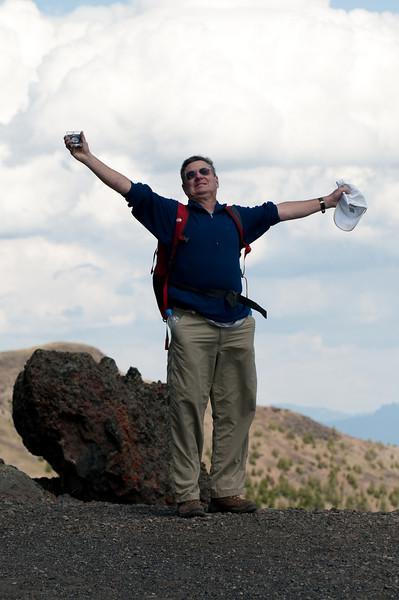 Jeff Frost celebrates on Mt. Washburn
