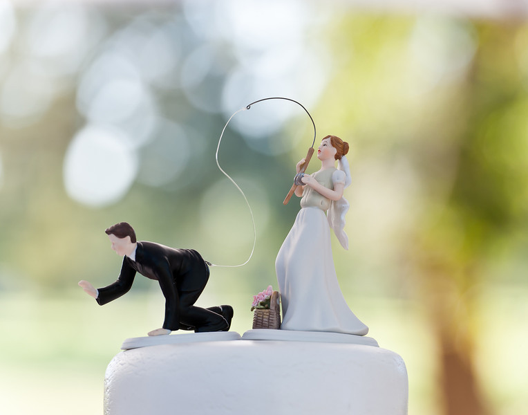 Wedding cake for a fishing couple