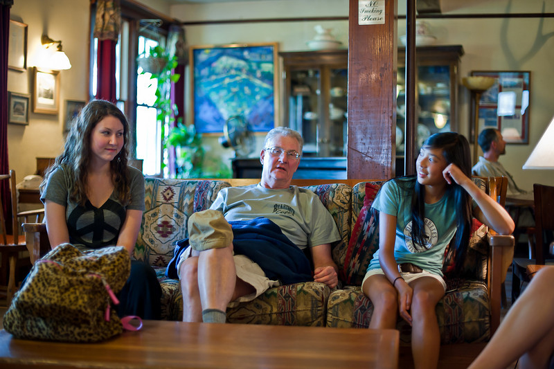 Erica, Minor, and Sarah wait for dinner at Chico Hot Springs in Pray,  Montana