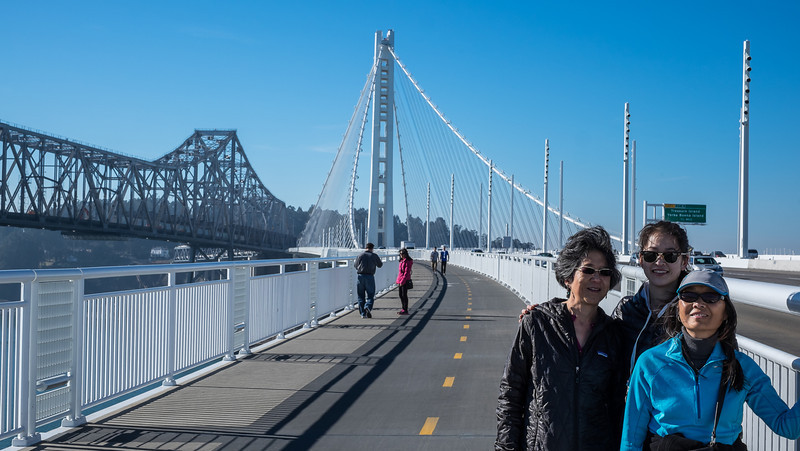 Stephanie, Sheena, and Jet walking on the new Bay Bridge, December 2013