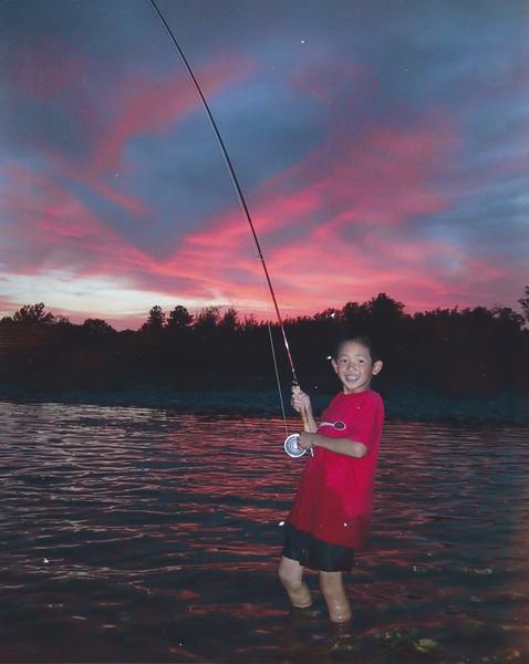 David fishing the sunset caddis hatch, Yuba River