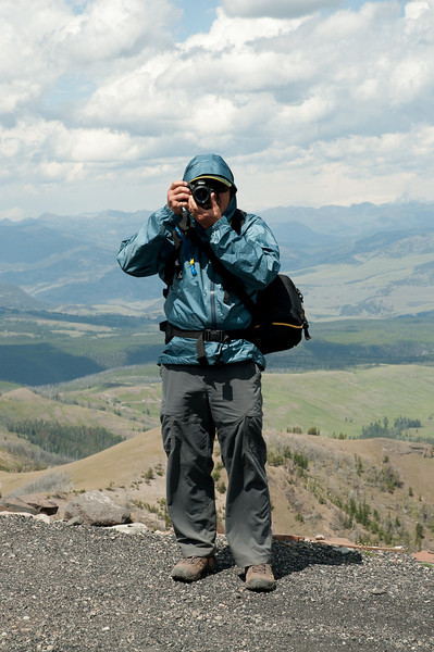 Don on a windy day, Mount Washburn