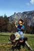 Yosemite, David on log