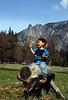 Yosemite, David on log