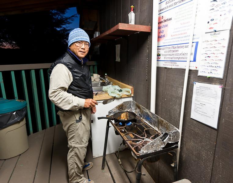Cooking dinner at fish camp, Klawock Alaska
