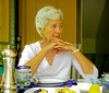 Margaret at breakfast; we became friends with her and her husband on a river in Cambodia. This is at their home in Waterloo, IA, but every year they invite us to visit them in Nova Scotia (summer) or Bequia (winter). We would love to do both, but have not managed either yet.