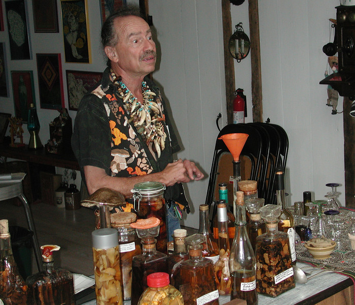 Our friend and neighbor, Gerry is a graphic artist who was a part of the Warhol Factory in the 60s before he ran away to the Amazon and became a shaman.<br /> <br /> He is giving a lecture in our barn on exotic healing liquors he makes from plant and animal ingredients.