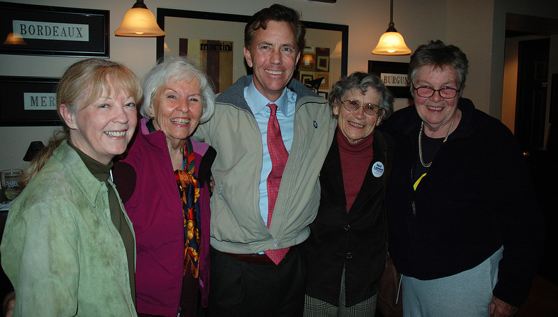 """Ned is the finest person I have ever met in politics. We worked hard for him against that DINO Joe Lieberman and later in his run for governor.<br /> <br /> The woman to Ned's immediate left is Kate who was one of my first proofs that we had moved to the right place in East Haddam. In 1976, she and her late partner Casey wrote """"Words and Women: A New Language in New Times"""" which truly revolutionized proper English usage. Kate died in 2011.<br /> <br /> Next to Gayle is her friend Nancy -- also now mournfully deceased. On Ned's far left is one of two women named Judy who used to live together on Main Street."""