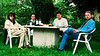 Lunch with Gayle and Neesham and her erstwhile beau at our inn in Brittany in 1997.<br /> <br /> And, yes, that is my hair.