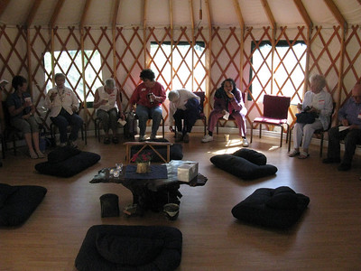 [Inside the yurt - taken on one of Fr. Timothy's regular monthly retreat days. .. You can see it's not a very gnarly crew!]